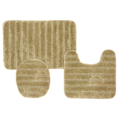William High Pile Ribbed 3 Piece Bath Rug Set Color: Beige