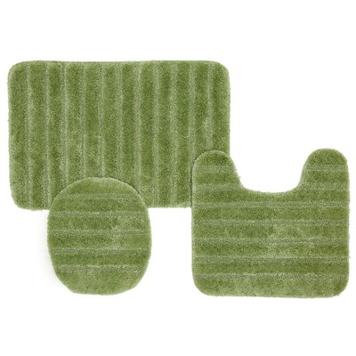 William High Pile Ribbed 3 Piece Bath Rug Set Color: Olive