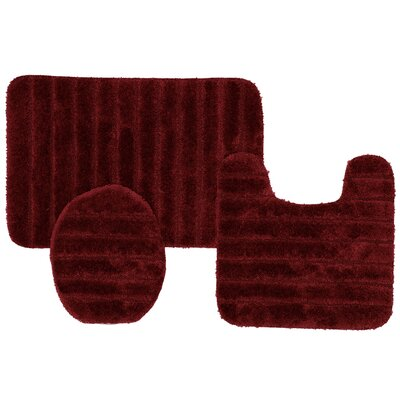 William High Pile Ribbed 3 Piece Bath Rug Set Color: Burgundy