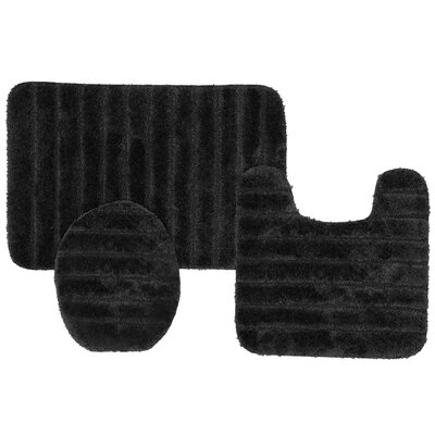 William High Pile Ribbed 3 Piece Bath Rug Set Color: Black