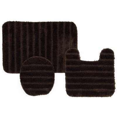 William High Pile Ribbed 3 Piece Bath Rug Set Color: Chocolate