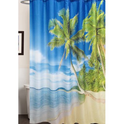 Amicia Tropical Island Beach Print Shower Curtain