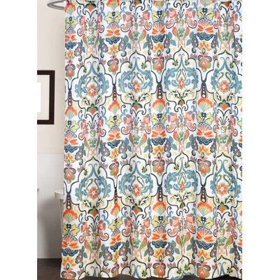 Delit Modern Paisley Floral Print Canvas Shower Curtain