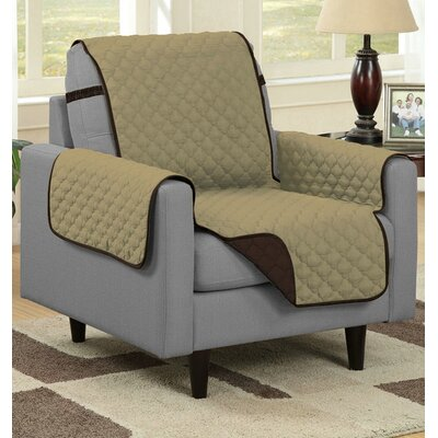 Reversible Quilted Microfiber Protector Chair Slipcover Upholstery: Camel/Brown