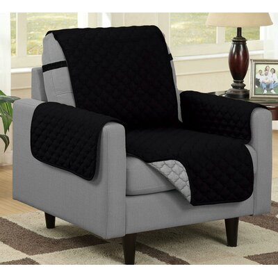 Box Cushion Armchair Slipcover Upholstery: Black/Gray