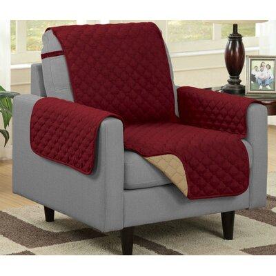 Box Cushion Armchair Slipcover Upholstery: Burgundy/Camel