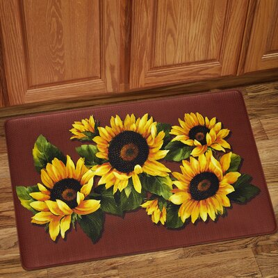 Sunflower Print Anti-Fatigue Kitchen Mat