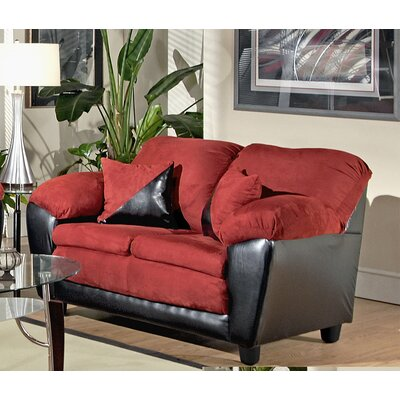 Brooklyn Loveseat Body Fabric: Bulldozer Burgundy / San Marino Black