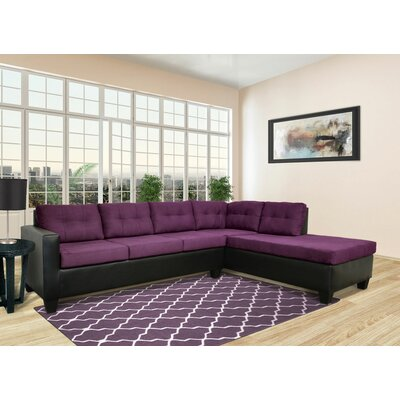 Brewster Sectional Upholstery: Bulldozer Eggplant / San Marino Black