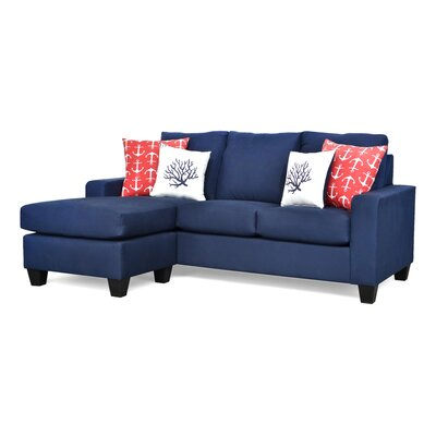 Dottie Reversible Sectional Upholstery: Navy