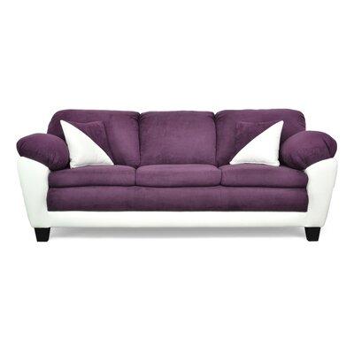 Brooklyn Sofa Upholstery: Bulldozer Eggplant / Cabo White