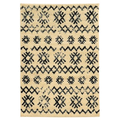 Brookstead Ivory/Black Geometric Area Rug Rug Size: Rectangle 5 x 7