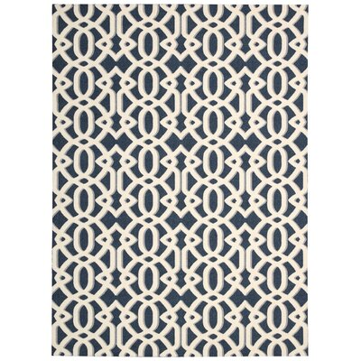Tabris Navy/White Area Rug Rug Size: Rectangle 5 x 7