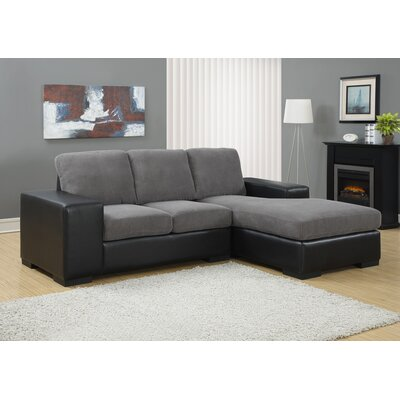 Mcelroy Sectional Upholstery: Charcoal Grey / Black