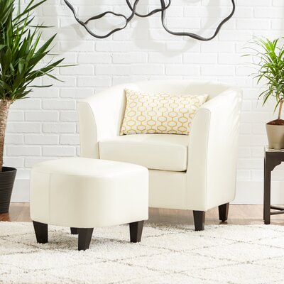 Apollonios Retro Barrel Chair and Ottoman Upholstery: Ivory