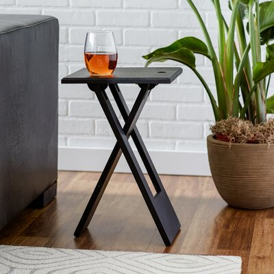 Davidson 19.25 Square Folding End Table Color: Black