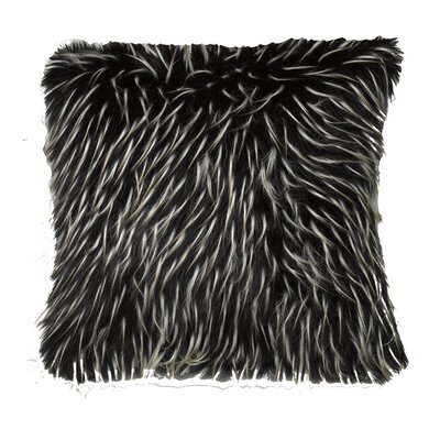 Artis Faux Fur Two Tone Feathered Throw Pillow Color: Black