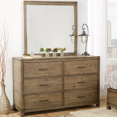 Pax 6 Drawer Double Dresser with Mirror