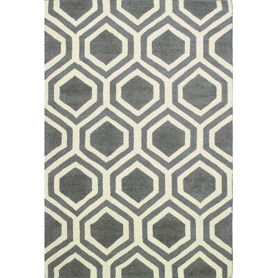 Kosmas Hand-Tufted Charcoal Area Rug Rug Size: 7 x 9