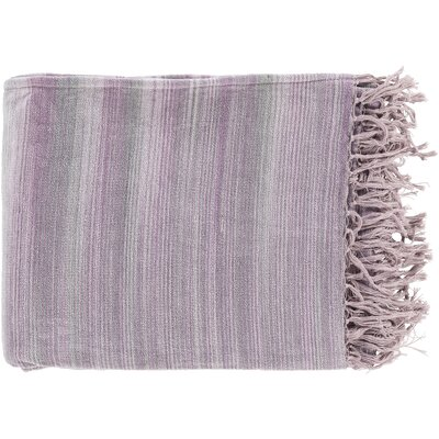 Zenon Cotton Throw Blanket Color: Gray / Purple
