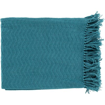Pyxis Cotton Throw Blanket Color: Blue