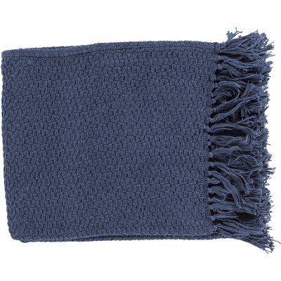 Polaris Cotton Throw Blanket Color: Navy