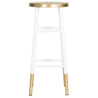 Mercury Row Mizar 30 Bar Stool Upholstery White Gold Bar Stool