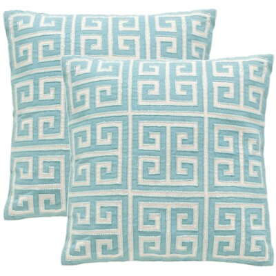 Modern Greek Key Large Pillow Set Color: Aqua Blue