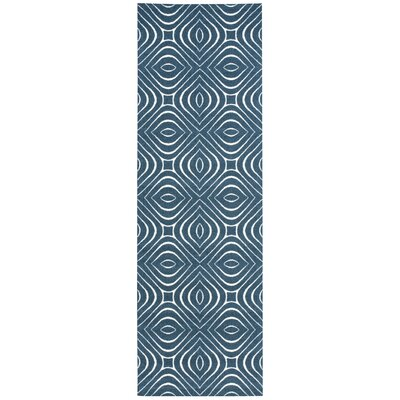 Anemone Navy Area Rug Rug Size: Runner 26 x 8
