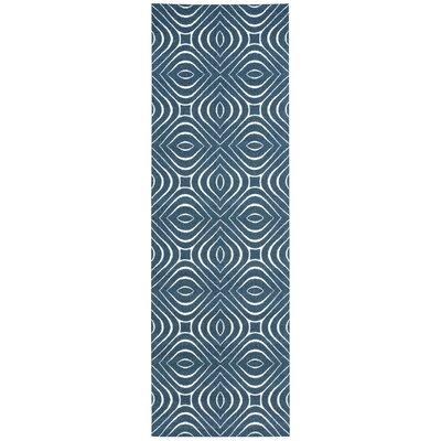 Anemone Navy Area Rug Rug Size: Runner 26 x 8