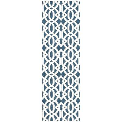 Tabris Navy/White Area Rug Rug Size: Runner 26 x 8