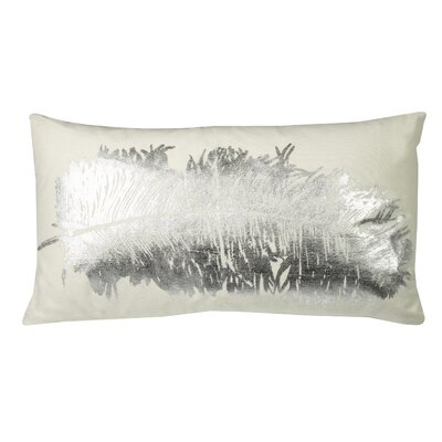 Anacletus Metallic Feather Lumbar Pillow Color: Silver