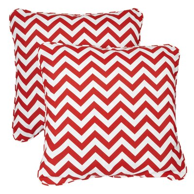 Middletown Indoor/Outdoor Throw Pillow Fabric: Chevron Red, Size: 22 H x 22 W