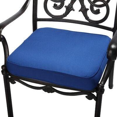 Outdoor Sunbrella Dining Chair Seat Cushion Fabric: Blue, Size: 20 W x 20 D