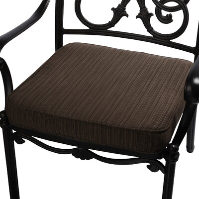 Outdoor Sunbrella Dining Chair Seat Cushion Size: 19 W x 19 D, Fabric: Textured Walnut