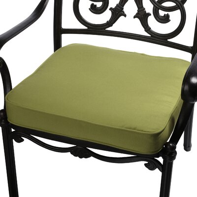 Outdoor Sunbrella Dining Chair Seat Cushion Size: 20 W x 20 D, Fabric: Macaw Green