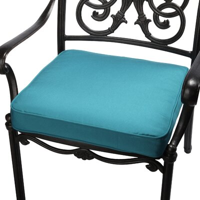 Outdoor Sunbrella Dining Chair Seat Cushion Size: 20 W x 20 D, Fabric: Teal