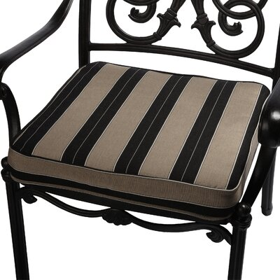Outdoor Sunbrella Dining Chair Seat Cushion Size: 19 W x 19 D, Fabric: Black/ Beige Stripe