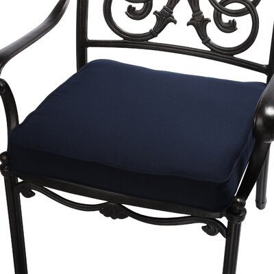 Outdoor Sunbrella Dining Chair Seat Cushion Size: 19 W x 19 D, Fabric: Navy Blue