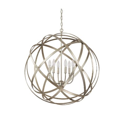 Adcock 6-Light Steel Globe Pendant Finish: Winter Gold