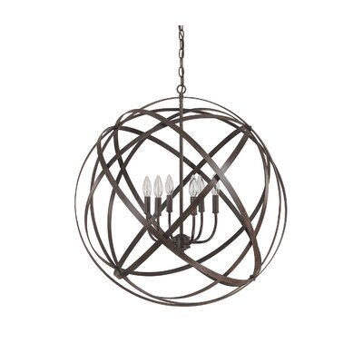 Adcock 6-Light Steel Globe Pendant Finish: Russet