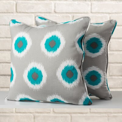 Ludlum Indoor/Outdoor Throw Pillow Fabric: Ikat Teal, Size: 22 H x 22 W