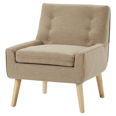 Reese Tufted Fabric Retro Arm Chair Upholstery: Light Brown