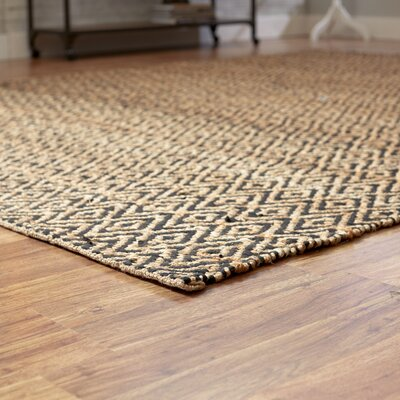 Pyrrhos Diamond Hand-Woven Black/Beige Area Rug Rug Size: Rectangle 4 x 6