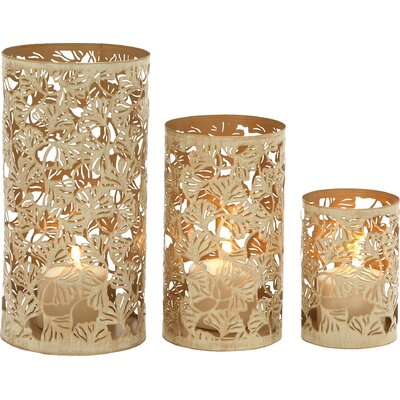3 Piece Bohemian Metal Votive Set