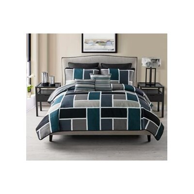 7 Piece Reversible Quilt Set Color: Blue, Size: Queen