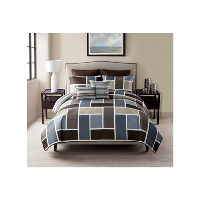7 Piece Reversible Quilt Set Size: Queen, Color: Brown
