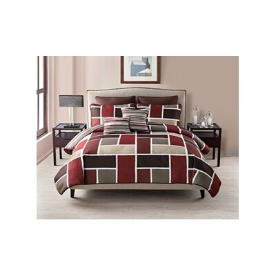 7 Piece Reversible Quilt Set Size: Queen, Color: Red