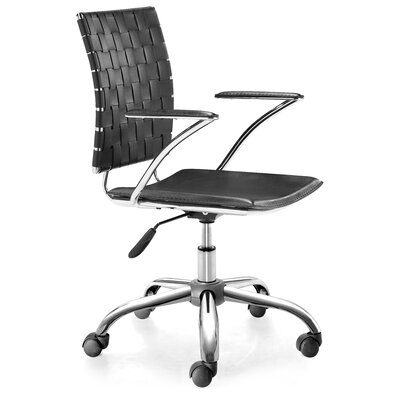 Criss Cross High-Back Office Chair with Arms Upholstery: Black