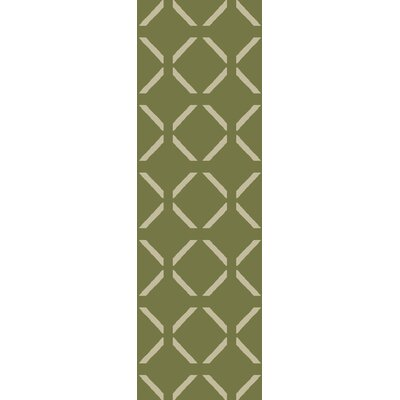 Hand-Woven Green Area Rug Rug Size: Runner 26 x 8